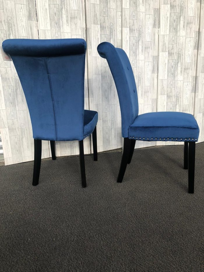 Pair of Cabrini Blue Velvet Dining Chairs With Black Legs - Side and Back Views