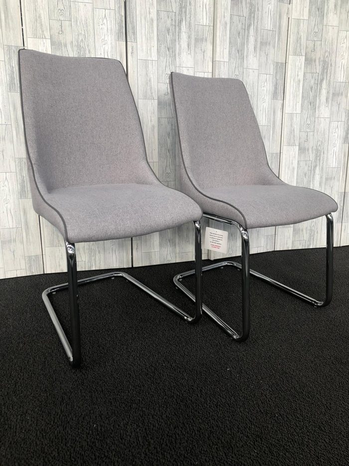 Pair of Lucia Grey Fabric Dining Chairs - Front View