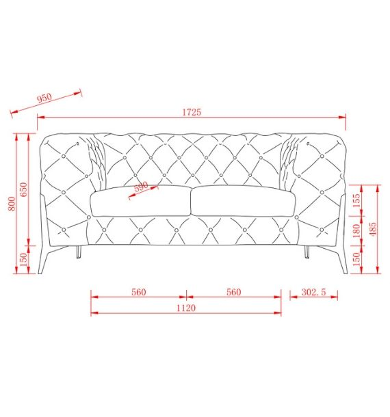 Annabelle 2 Seater Modern Chesterfield Sofa Dimensions Line Drawing