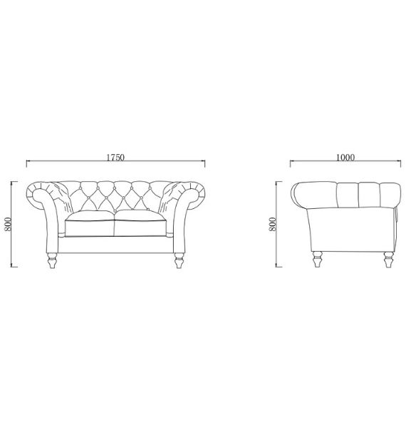 Charlotte 2 Seater Sofa Dimensions Line Drawing