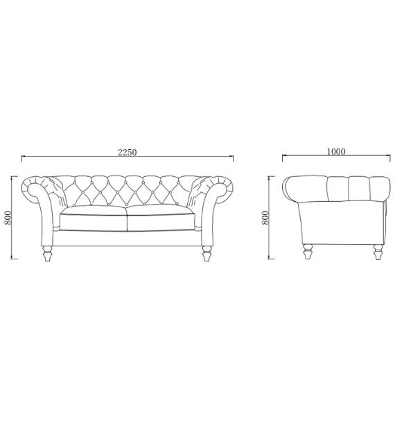 Charlotte 3 Seater Sofa Dimensions Line Drawing