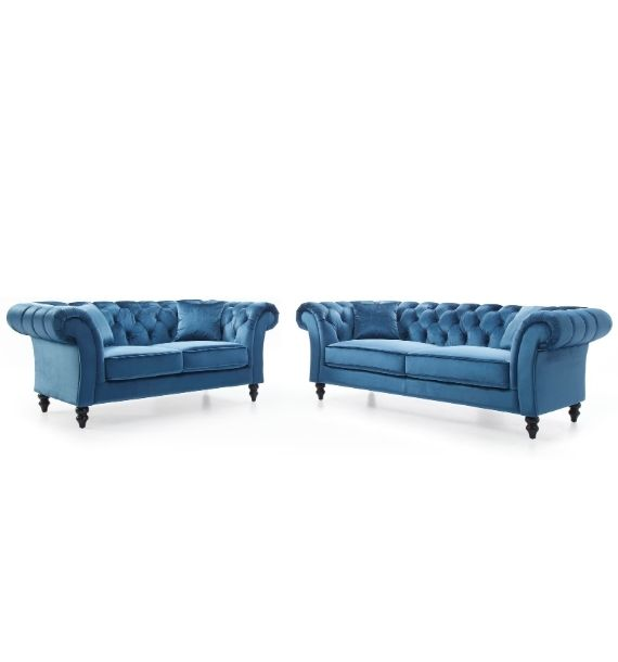 CHARLOTTE 3 SEATER & 2 SEATER CHESTERFIELD SOFA SET - BLUE