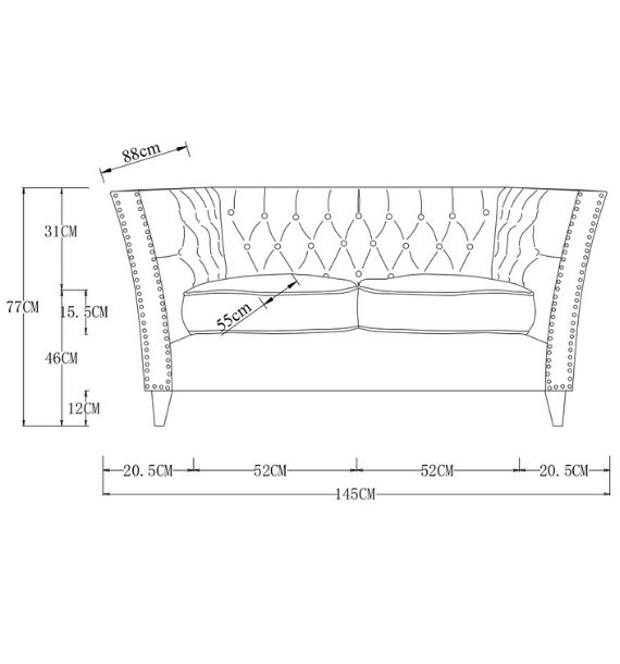 Chloe Modern Chesterfield 2 Seater Sofa Dimensions Line Drawing