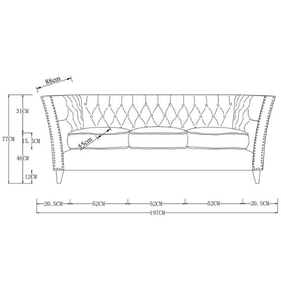 Chloe Modern Chesterfield 3 Seater Sofa Dimensions Line Drawing