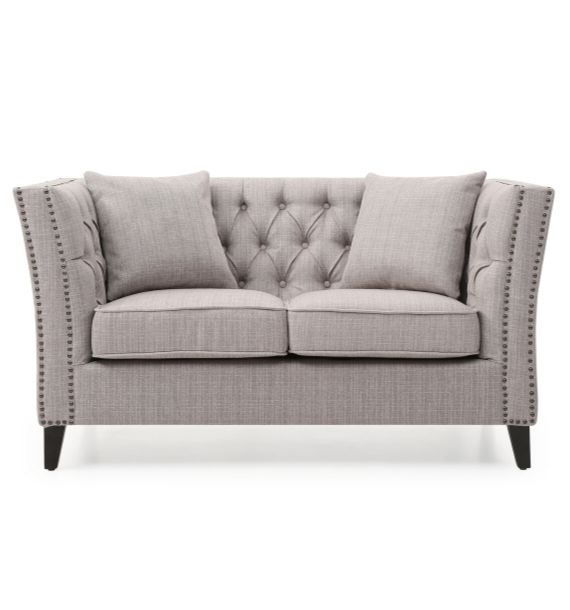 CHLOE STUDDED FABRIC 2 SEATER CHESTERFIELD SOFA - GREY (Front View)
