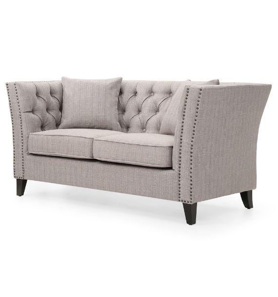 CHLOE STUDDED FABRIC 2 SEATER CHESTERFIELD SOFA - GREY (Side View)