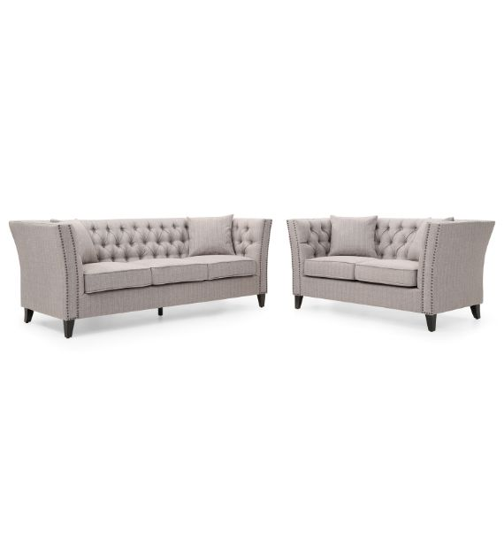 CHLOE 3 SEATER & 2 SEATER CHESTERFIELD SOFA SET - GREY