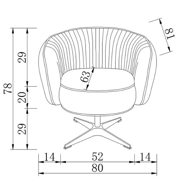 Colette Swivel Chair Dimensions Line Drawing
