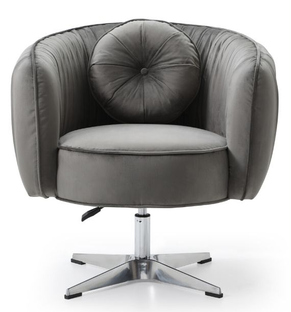 COLETTE VELVET SWIVEL CHAIR - GREY (Front View)