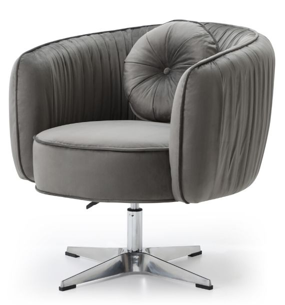 COLETTE VELVET SWIVEL CHAIR - GREY (Side View)
