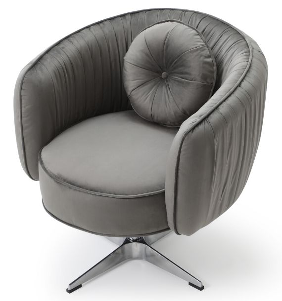 COLETTE VELVET SWIVEL CHAIR - GREY (Top View)