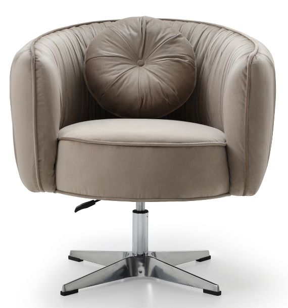 COLETTE VELVET SWIVEL CHAIR - MINK (Front View)
