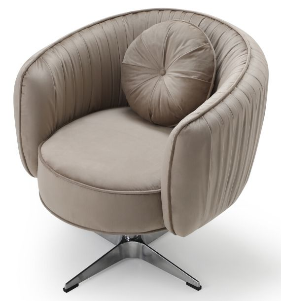 COLETTE VELVET SWIVEL CHAIR - MINK (Top View)