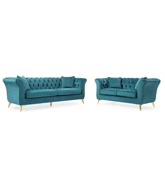 LAUREN 3 SEATER & 2 SEATER CHESTERFIELD SOFA SET - TEAL