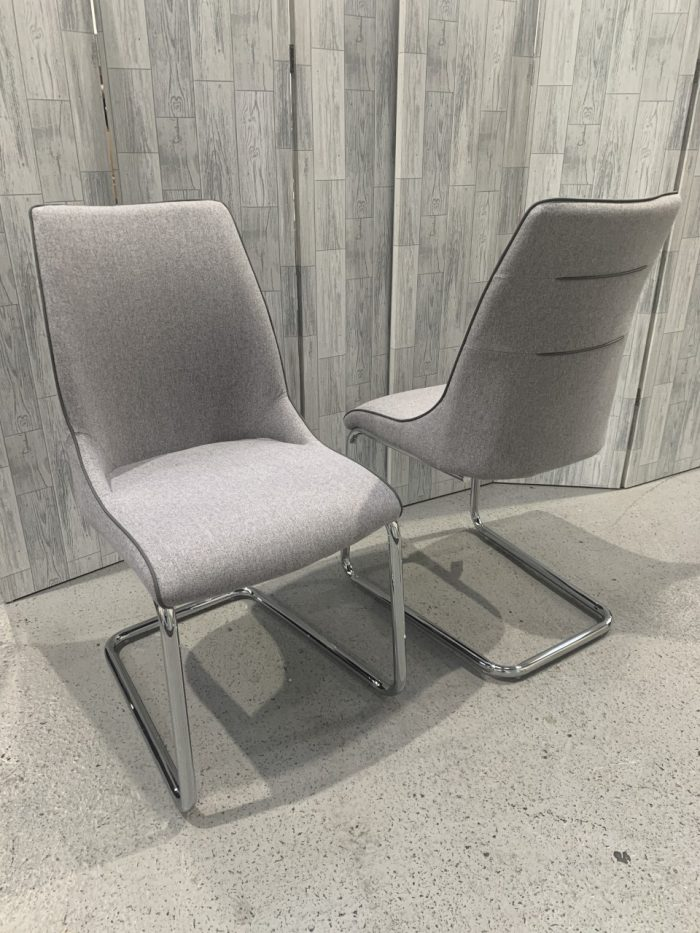 Pair of Lucia Grey Fabric Dining Chairs