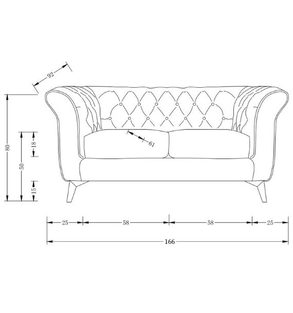 Lauren Modern Chesterfield 2 Seater Sofa Dimensions Line Drawing
