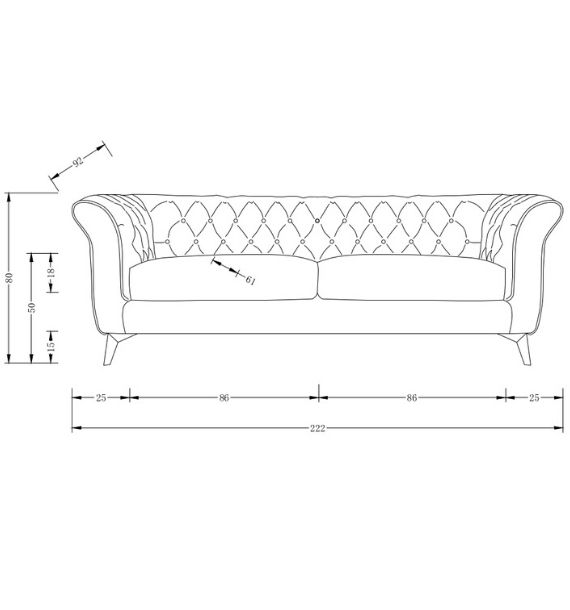 Lauren Modern Chesterfield 3 Seater Sofa Dimensions Line Drawing