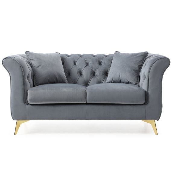 Lauren Velvet 2 Seater Chesterfield Sofa - Grey (Front View)