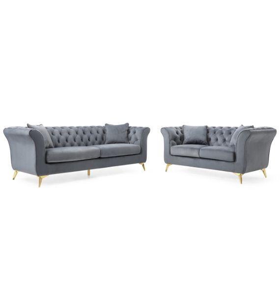Lauren 3 Seater + 2 Seater Chesterfield Sofa Set - Grey