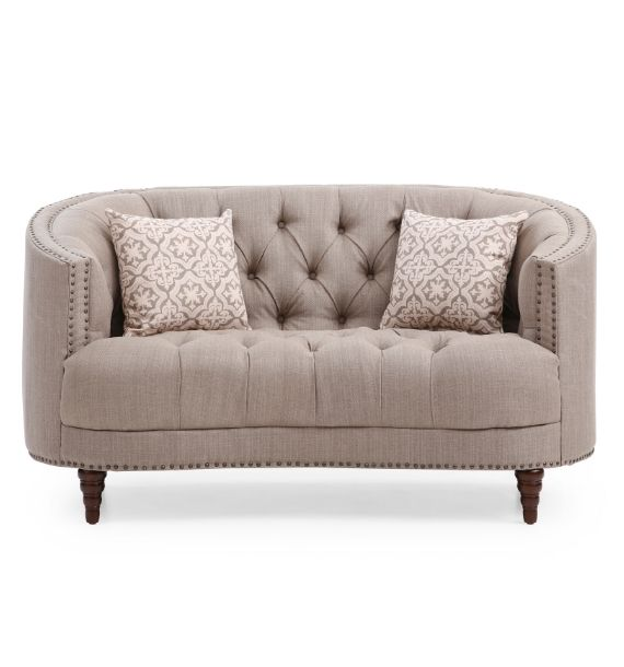 OLIVIA STUDDED FABRIC 2 SEATER MODERN CHESTERFIELD SOFA - BROWN (Front View)