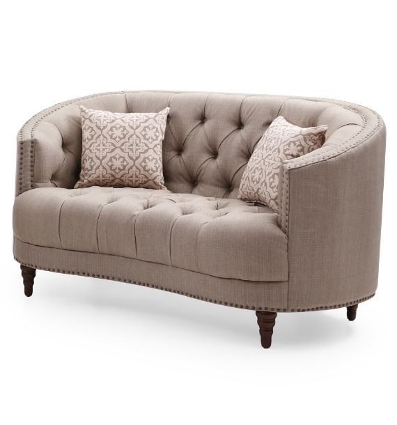 OLIVIA STUDDED FABRIC 2 SEATER MODERN CHESTERFIELD SOFA - BROWN (Side View)