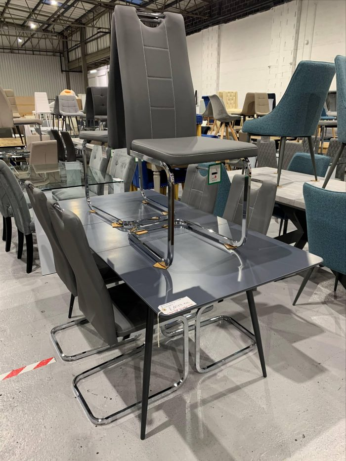 Verona Grey Extendable Dining Table & 6 Dining Chairs