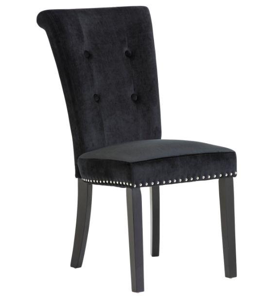 Cabrini Black Velvet Dining Chair With Black Legs