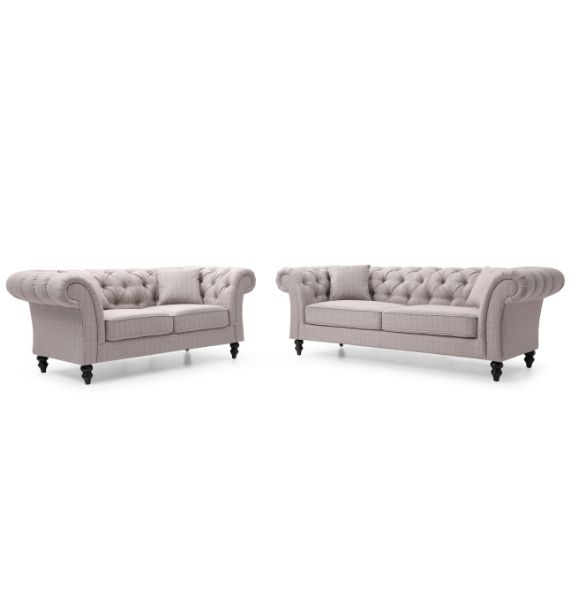 Charlotte 3 Seater & 2 Seater Chesterfield Sofa Set - Grey