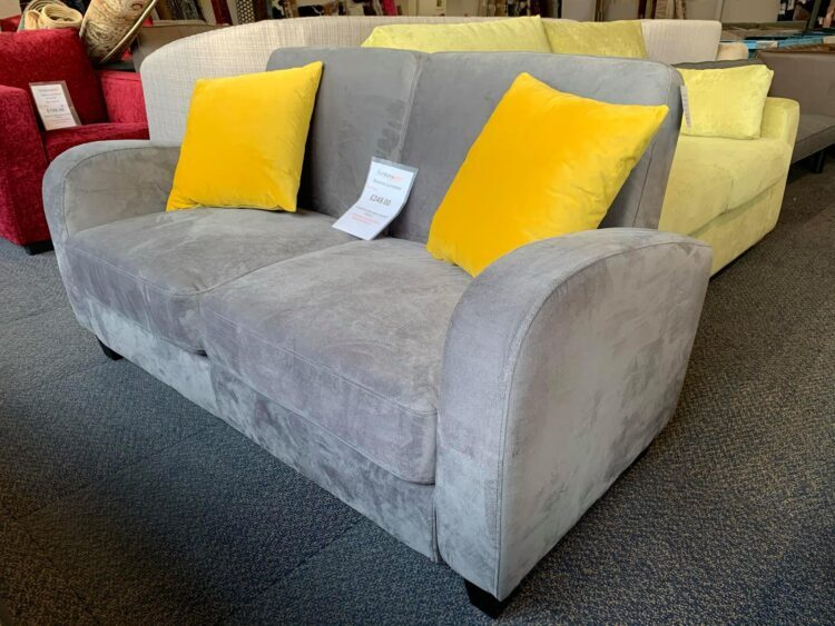 Grey sofa with Yellow scatter cushions