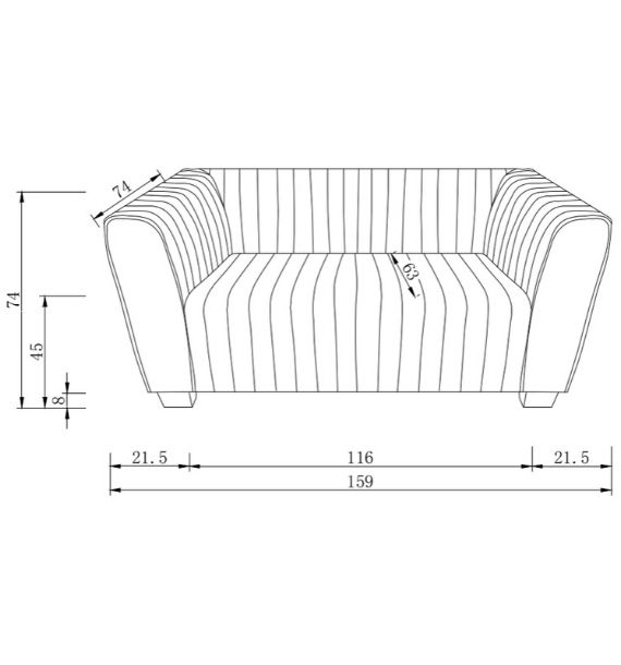 Lucia 2 Seater Sofa Dimensions Line Drawing