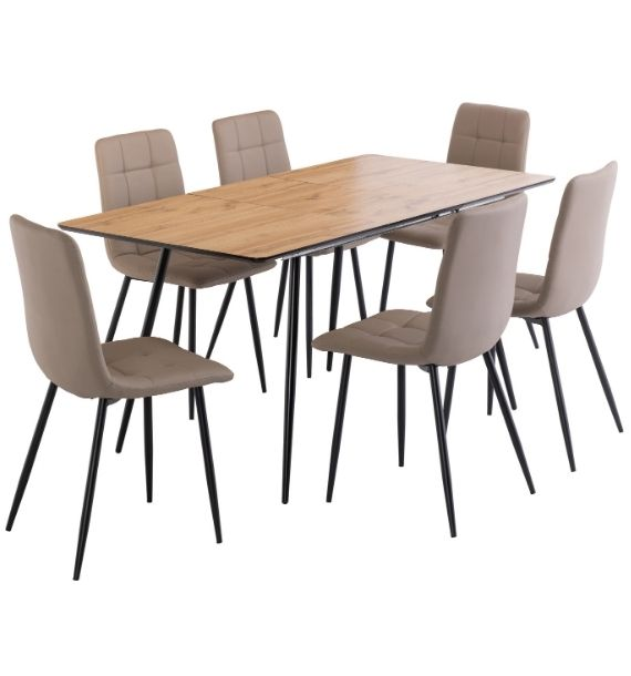 Verona Oak Extendable Dining Table & 6 Light Taupe Dining Chairs