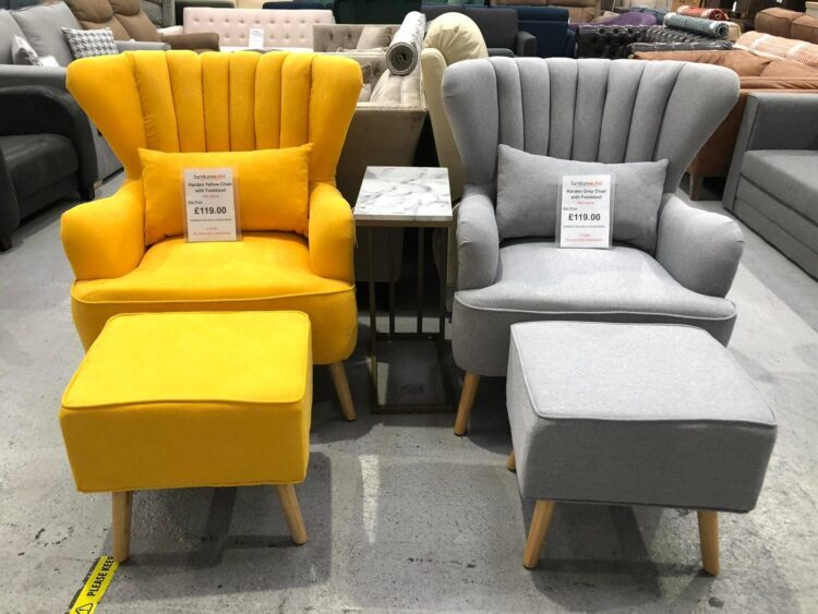 Yellow and Grey armchairs and footstools