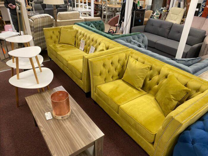 Chloe Mustard 3 Seater & 2 Seater Chesterfield Sofa Set - Wickford