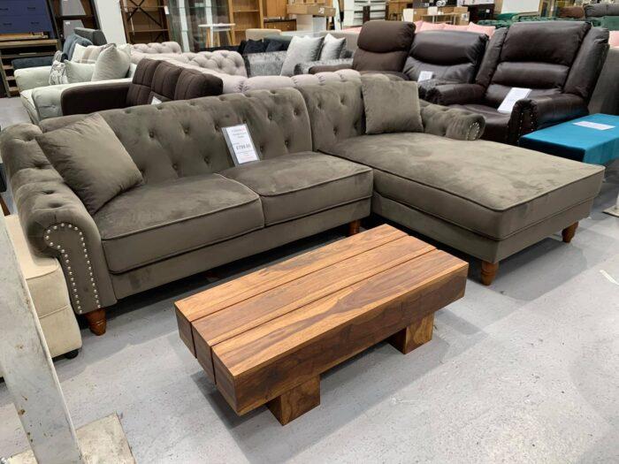 Christie Right Hand Velvet Chaise Corner Sofa - Grey