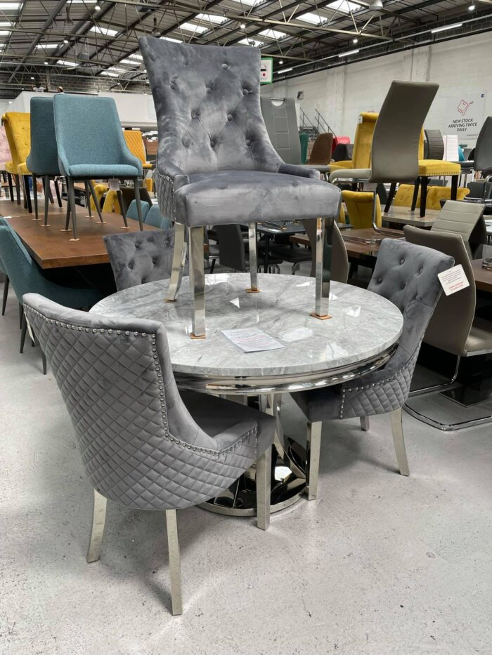 Monaco 1.2m Round Dining Table & 4 Grey Coco Dining Chairs at Dagenham Store