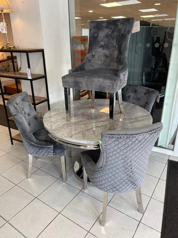 Monaco 1.2m Round Dining Table & 4 Grey Coco Dining Chairs at Leigh-on-Sea Store
