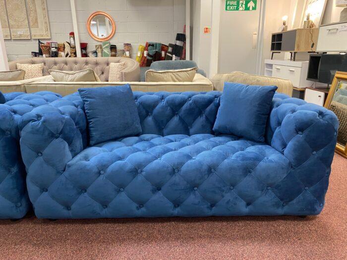 Amelia Velvet 2 Seater Modern Chesterfield Sofa Blue - Wickford