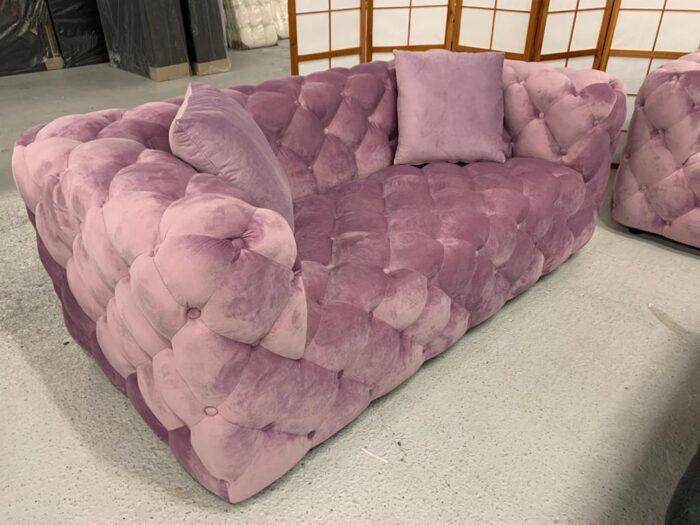 Amelia Velvet 2 Seater Modern Chesterfield Sofa Violet - Dagenham