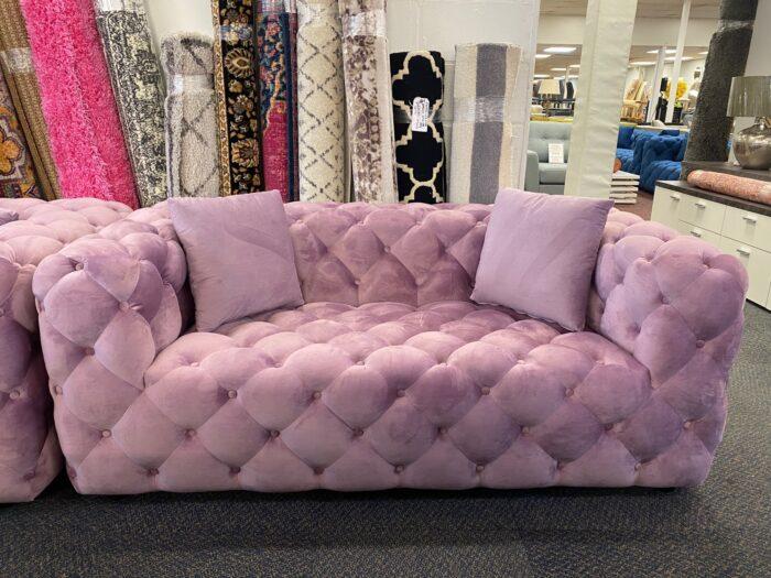 Amelia Velvet 2 Seater Modern Chesterfield Sofa Violet - Wickford