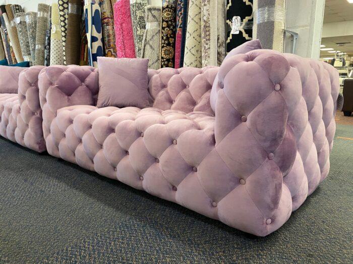 Amelia Velvet 2 Seater Modern Chesterfield Sofa Violet - Wickford Side View