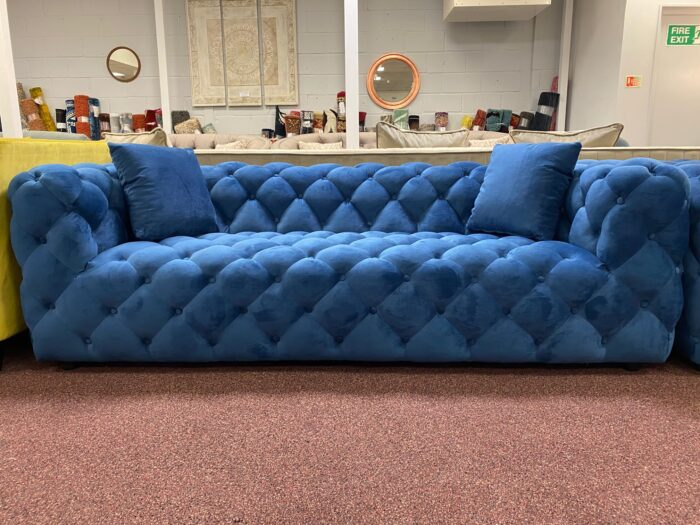 Amelia Velvet 3 Seater Modern Chesterfield Sofa Blue - Wickford