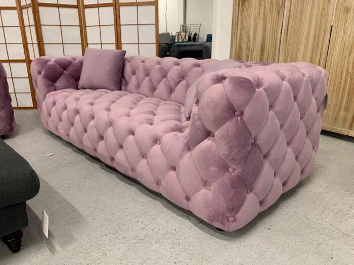 Amelia Velvet 3 Seater Modern Chesterfield Sofa Violet - Dagenham Side View