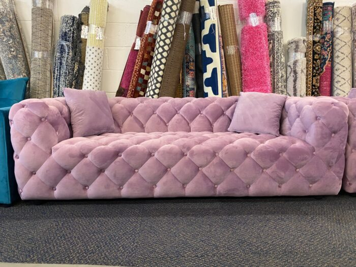 Amelia Velvet 3 Seater Modern Chesterfield Sofa Violet - Wickford