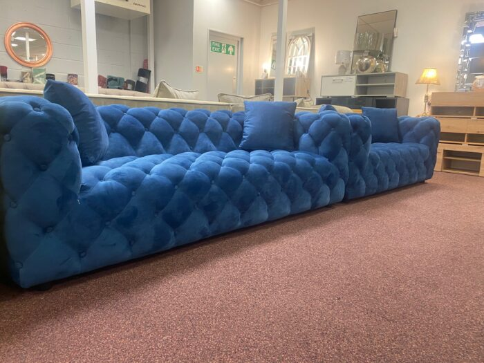 Amelia 3 Seater & 2 Seater Modern Chesterfield Sofa Set Blue - Wickford Side View
