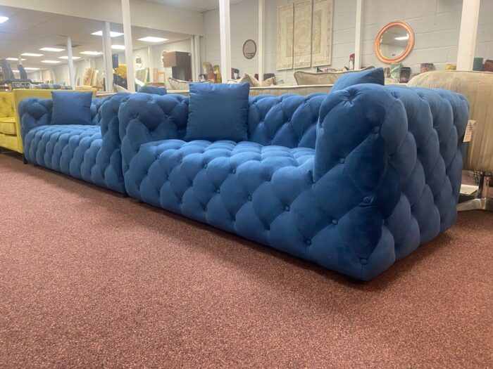 Amelia 3 Seater & 2 Seater Modern Chesterfield Sofa Set Blue - Wickford