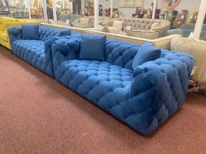 Amelia 3 Seater & 2 Seater Modern Chesterfield Sofa Set Blue - Wickford Top View