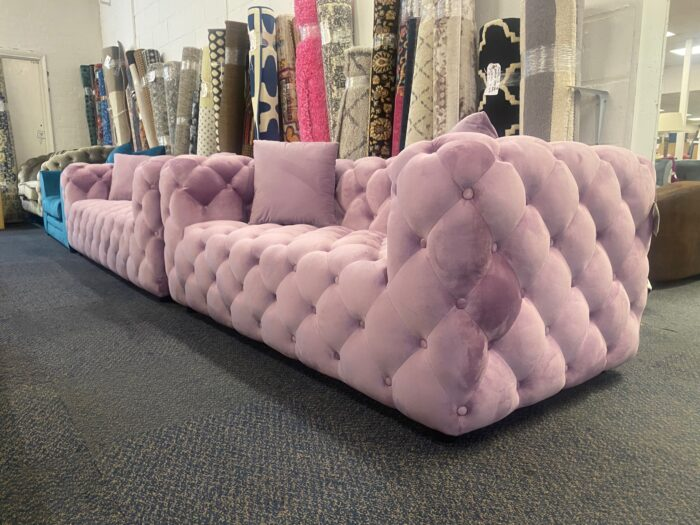 Amelia 3 Seater & 2 Seater Modern Chesterfield Sofa Set Violet - Wickford