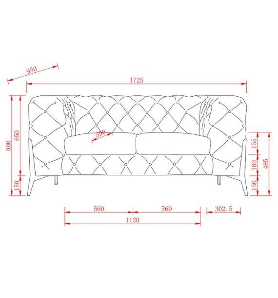 Annabelle Velvet 2 Seater Chesterfield Sofa Dimensions
