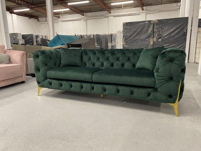 Annabelle Velvet 3 Seater Chesterfield Sofa Green - Dagenham side view