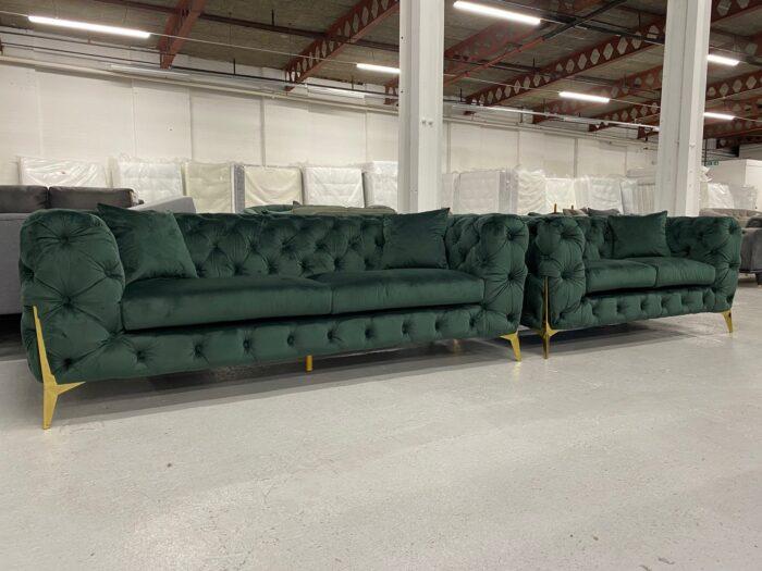 Annabelle Velvet 3 Seater & 2 Seater Chesterfield Sofa Set Green - Dagenham 1